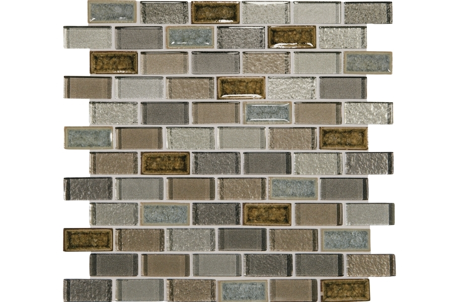 Daltile Crystal Shores Glass Mosaic - Brick Joint Sapphire Lagoon