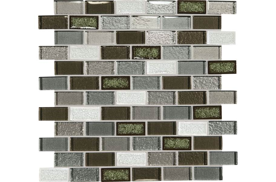 Daltile Crystal Shores Glass Mosaic - Brick Joint Emerald Isle