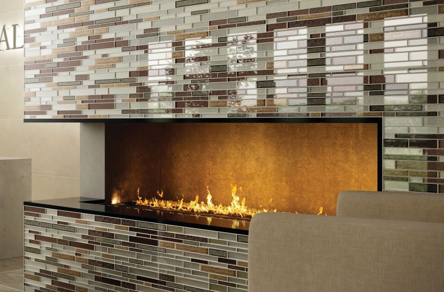 Daltile Crystal Shores Glass Mosaic - Hazel Harbor Random Linear