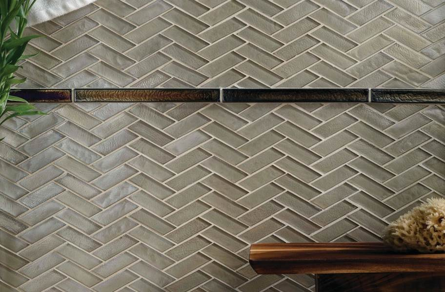 Daltile Illuminary Glass Mosaic - Sandbar Bronze Herringbone