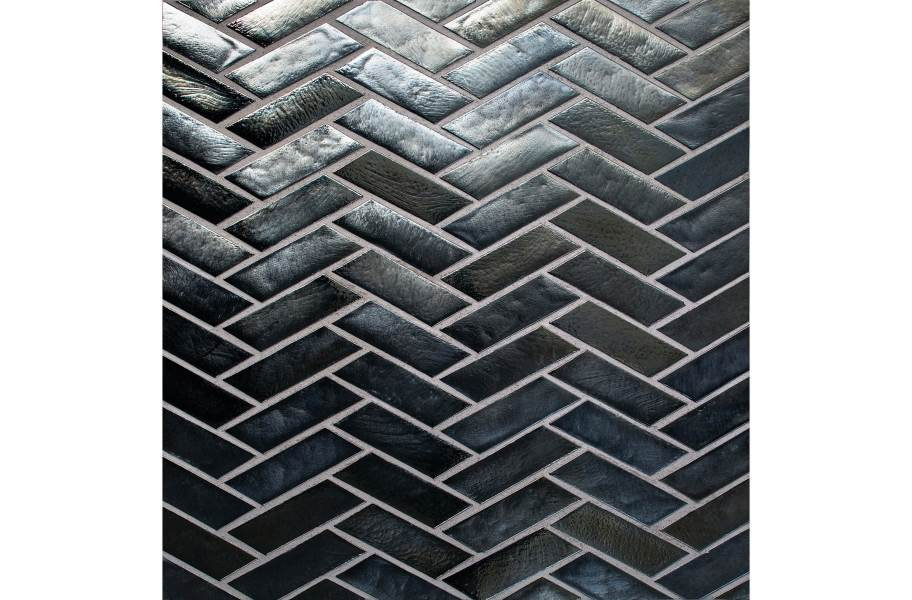 Daltile Illuminary Glass Mosaic - Herringbone Pewter