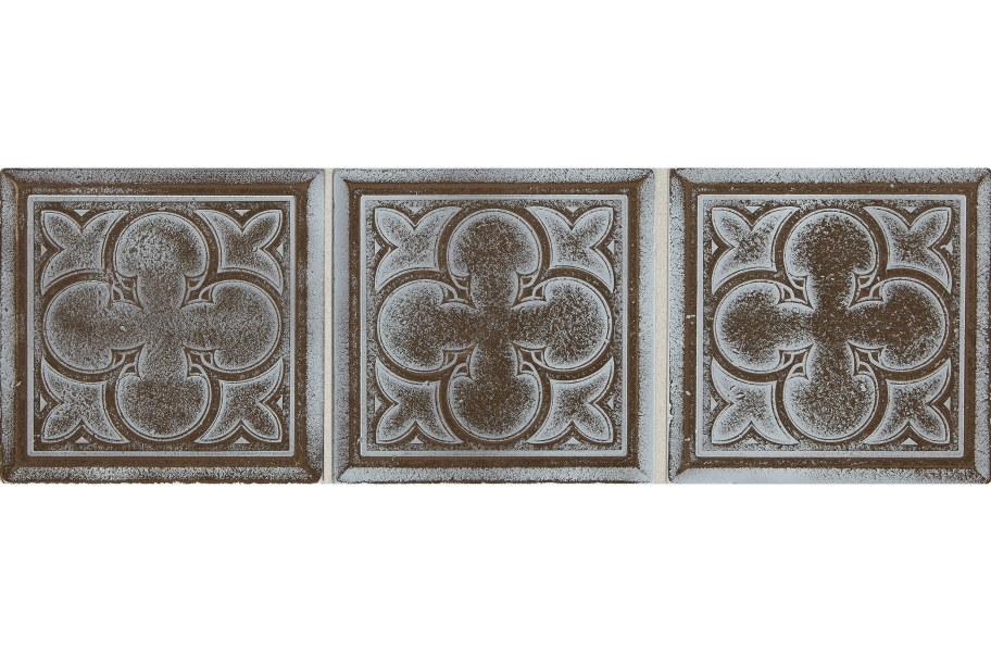 Daltile Vintage Metals - Whitewash Classic Bronze Clover