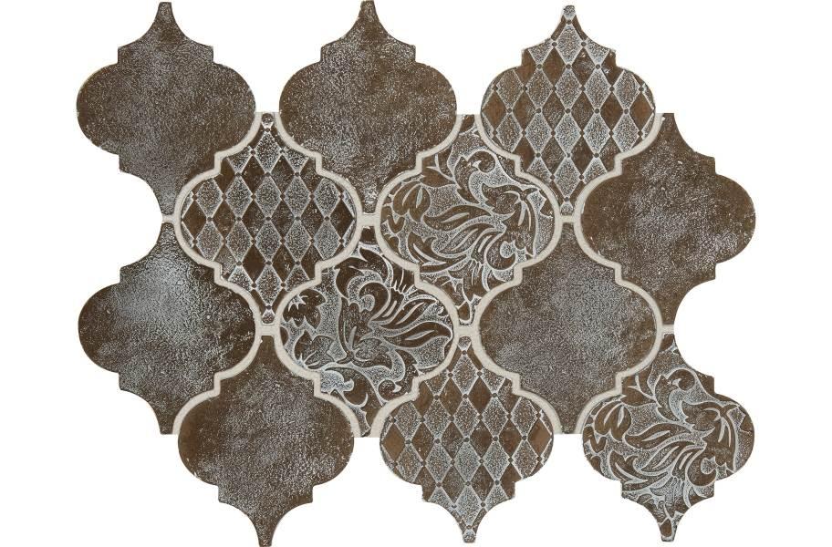 Daltile Vintage Metals - Whitewash Classic Bronze Arabesque