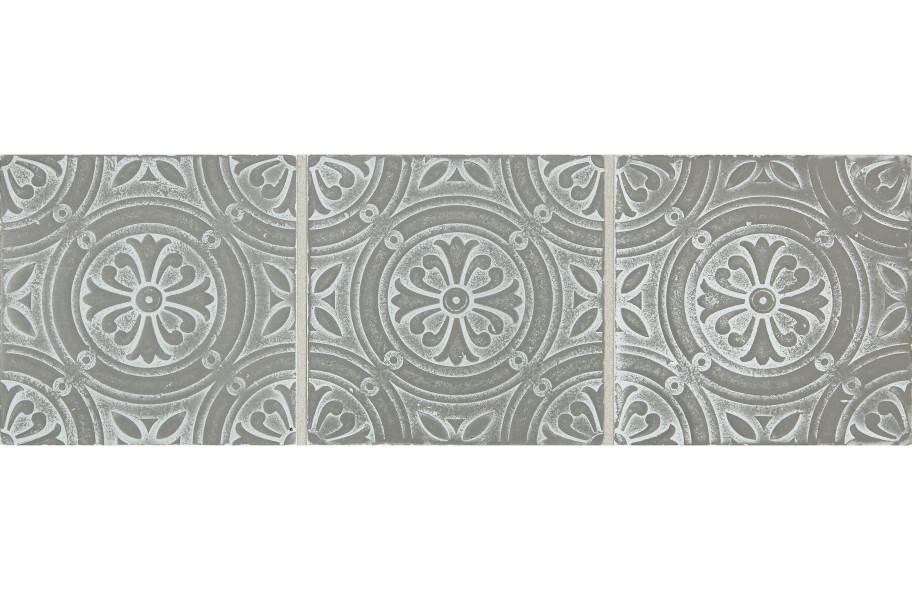Daltile Vintage Metals - Whitewash Titanium Rosette