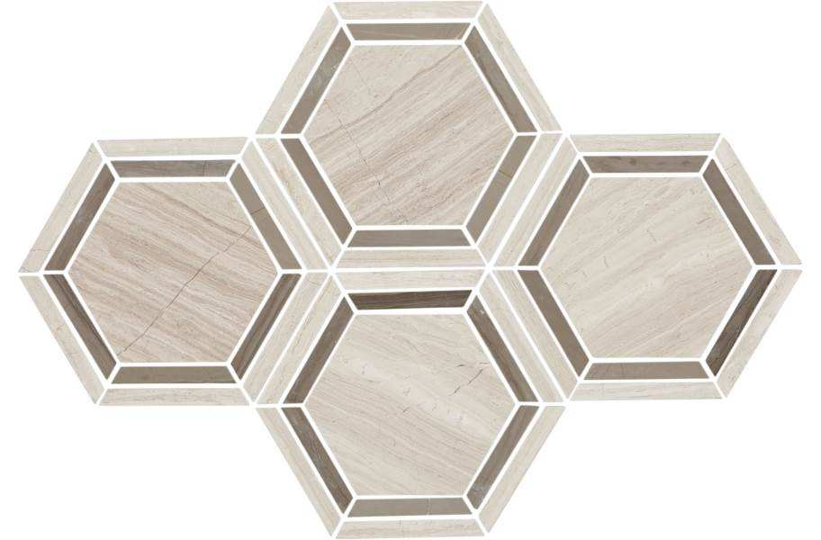 Daltile Natural Stone Tile Hexagons - Chenille White Honed Limestone 6