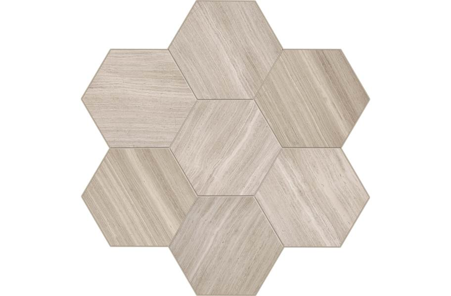 Daltile Natural Stone Tile Hexagons - Chenille White Honed Limestone