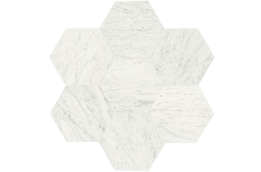 Daltile Natural Stone Tile Hexagons - Carrara White Polished Marble