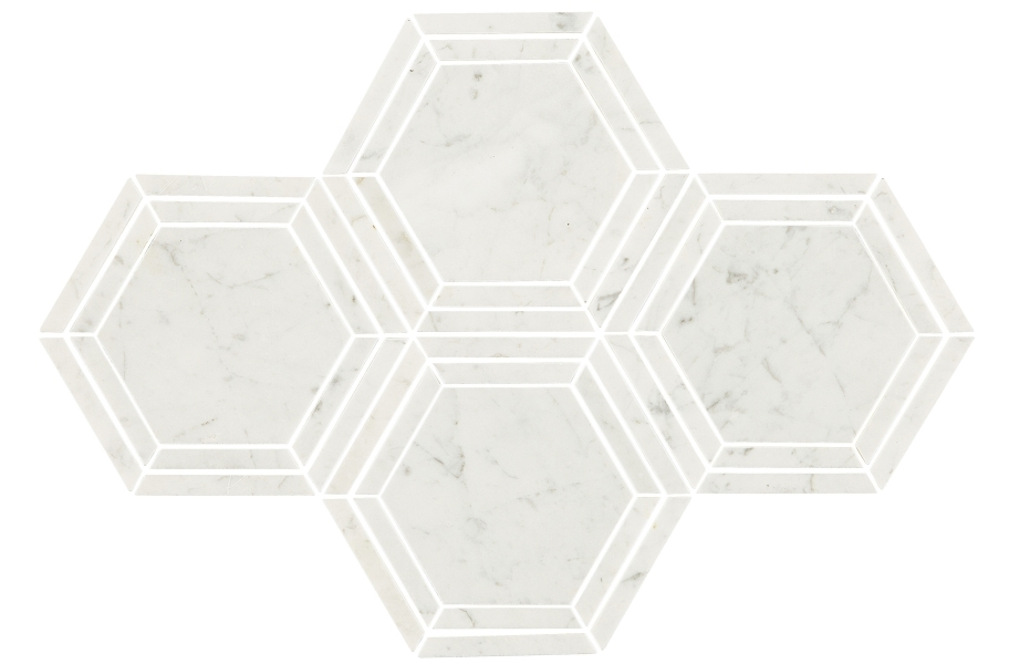 Daltile Natural Stone Tile Hexagons - Carrara White Polished Marble 6