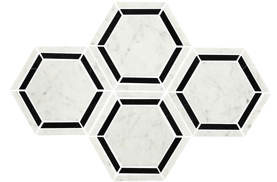 Daltile Natural Stone Tile Hexagons - Marble Black/White Polished Marble 6