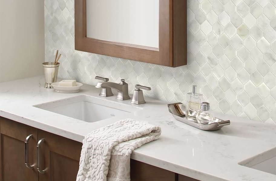 Shaw Boca Natural Stone Mosaic - Stretch Hex - Whitewater