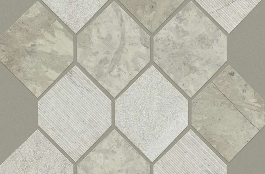 Shaw Boca Natural Stone Mosaic - Stretch Hex - Thala Gray