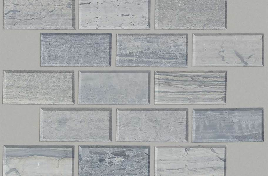 Shaw Chateau Natural Stone Subway Tile - Bevel Blue Grigio