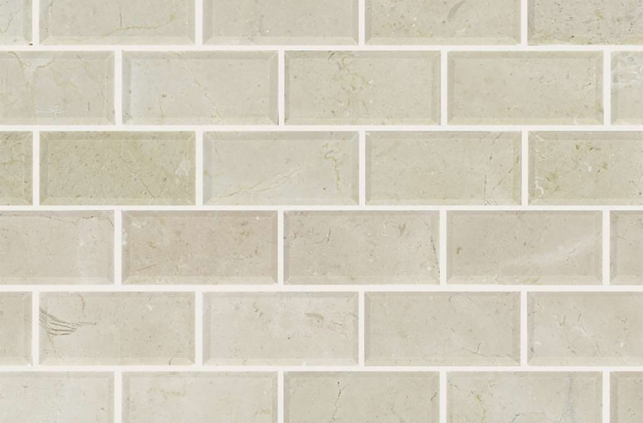 Shaw Chateau Natural Stone Subway Tile - Bevel Crema Marfil