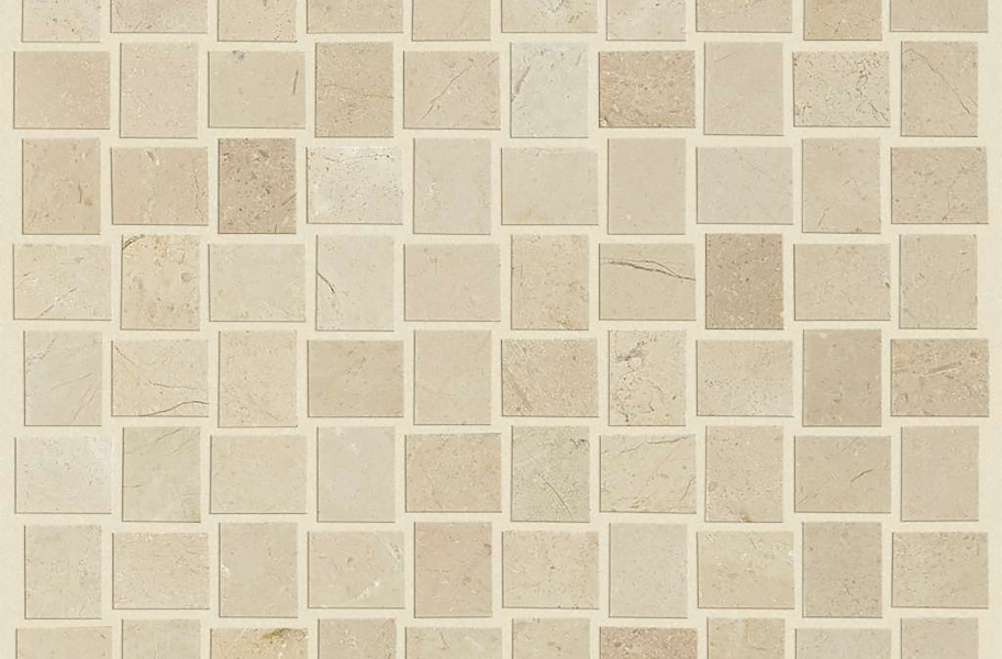 Shaw Chateau Natural Stone Woven Tile - Basketweave Crema Marfil