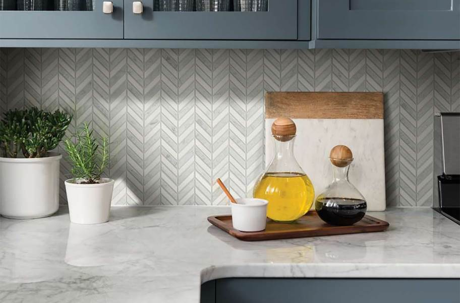 Shaw Chateau Chevron Natural Stone Tile - Bianco Carrara Thassos