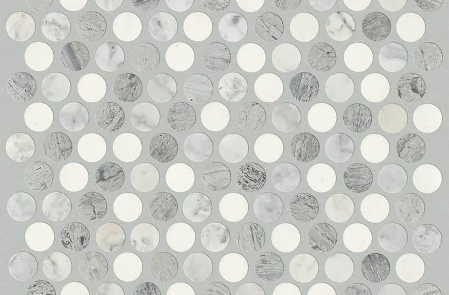 Shaw Chateau Geometrics Natural Stone Tile - Penny Round Bianco Carrara / Blue Grigio / Thassos White