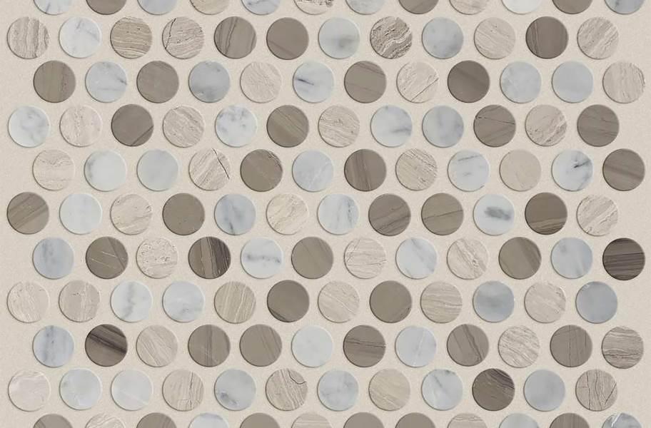 Shaw Chateau Geometrics Natural Stone Tile - Penny Round Bianco Carrara / Rockwood / Urban Grey