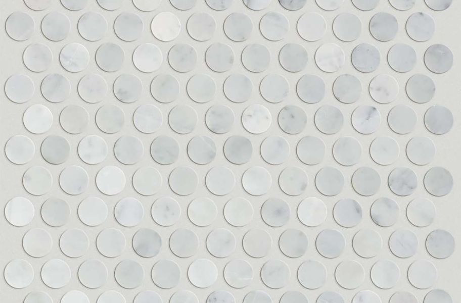 Shaw Chateau Geometrics Natural Stone Tile - Penny Round Bianco Carrara