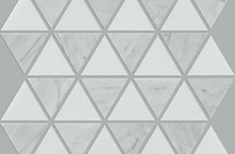 Shaw Chateau Geometrics Natural Stone Tile - Triangle Mix Bianco Carrara Thassos