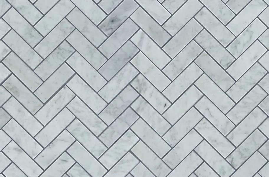 Shaw Chateau Geometrics Natural Stone Tile - Herringbone Bianco Carrera