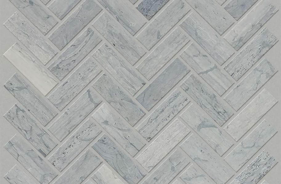 Shaw Chateau Geometrics Natural Stone Tile - Herringbone Blue Grigio