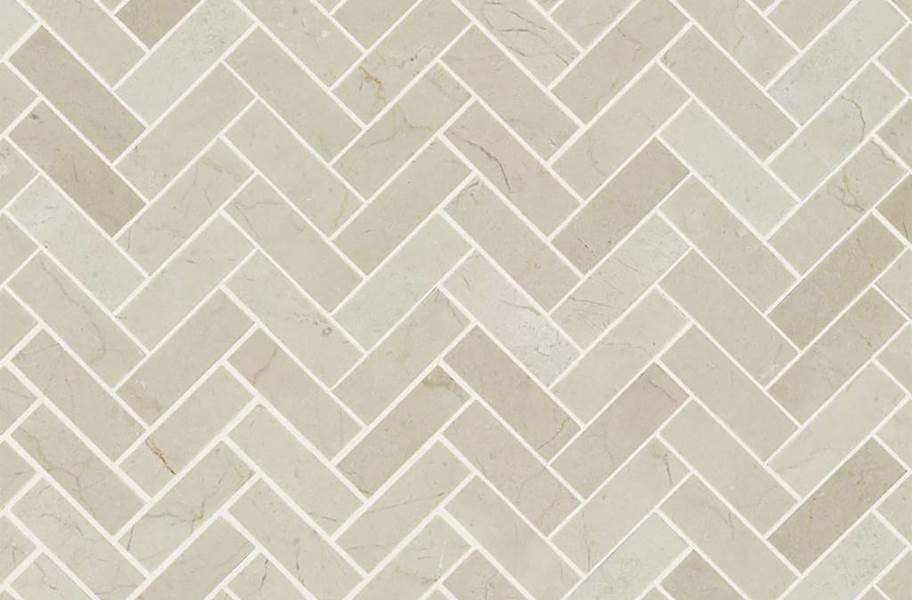 Shaw Chateau Geometrics Natural Stone Tile - Herringbone Crema Marfil