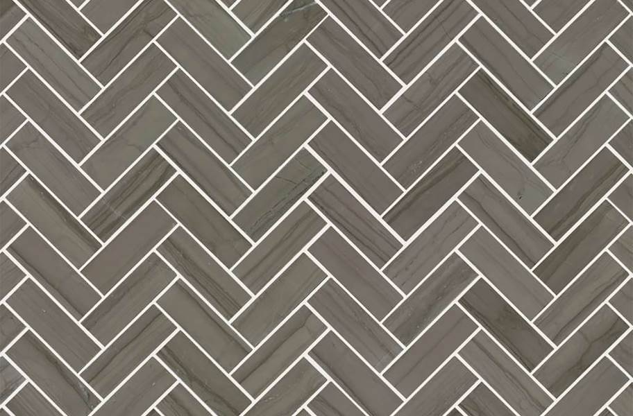 Shaw Chateau Geometrics Natural Stone Tile - Herringbone Urban Grey