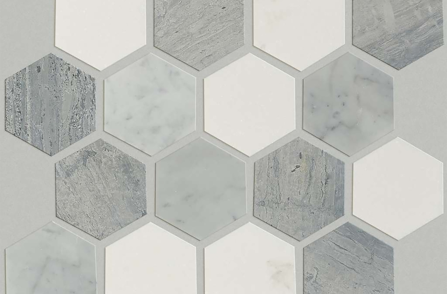 Shaw Chateau Geometrics Natural Stone Tile - Hexagon Bianco Carrara / Blue Grigio / Thassos