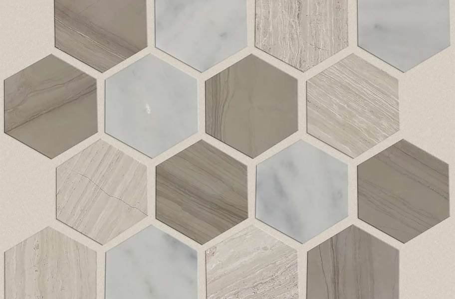 Shaw Chateau Geometrics Natural Stone Tile - Hexagon Bianco Carrara / Rockwood / Urban Grey