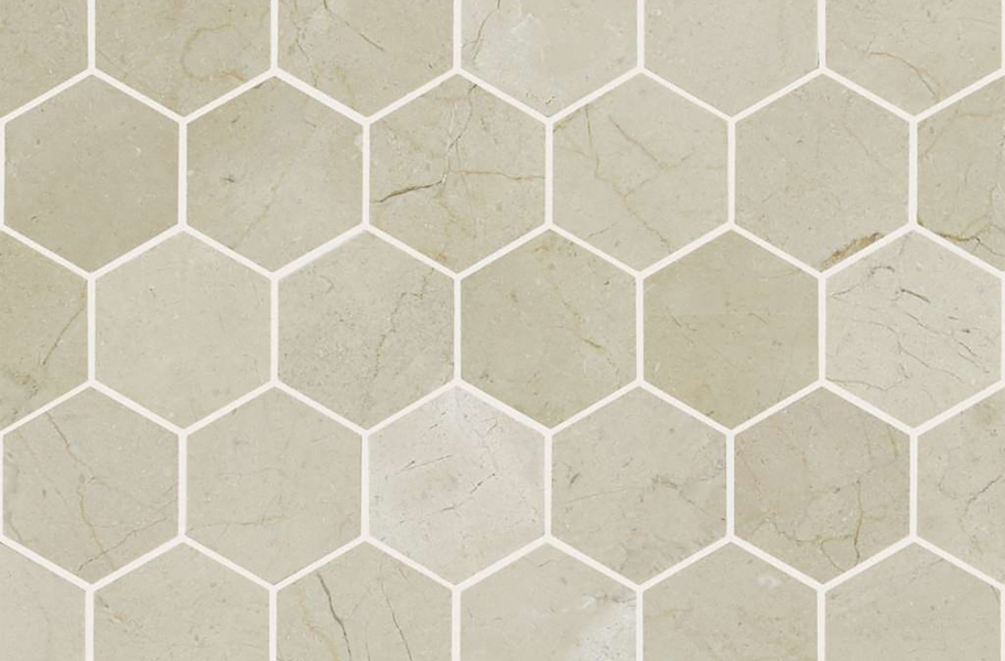 Shaw Chateau Geometrics Natural Stone Tile - Hexagon Crema Marfil