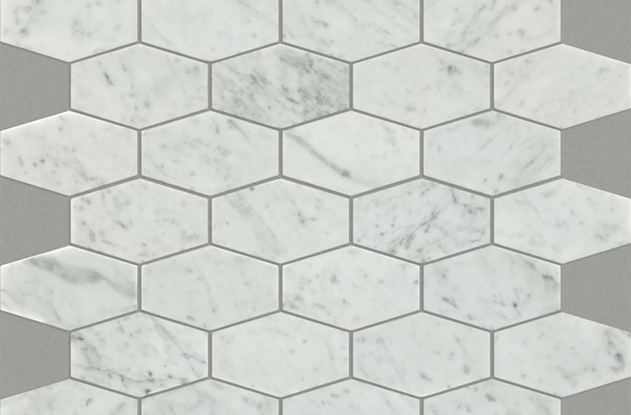 Shaw Chateau Geometrics Natural Stone Tile - Stretch Hex Bianco Carrara