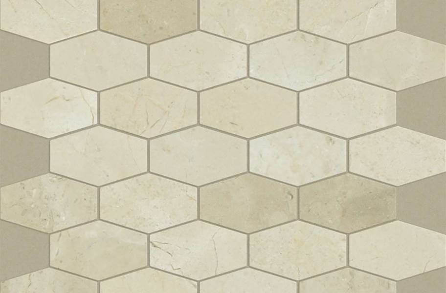 Shaw Chateau Geometrics Natural Stone Tile - Stretch Hex Crema Marfil