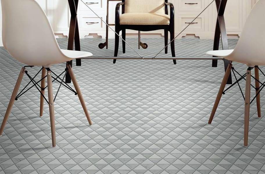 Shaw Chateau Geometrics Natural Stone Tile - Triangle Mix Bianco Carrara Thassos