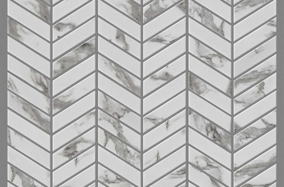 Shaw Gala Glass Mosaic - Chevron Platinum