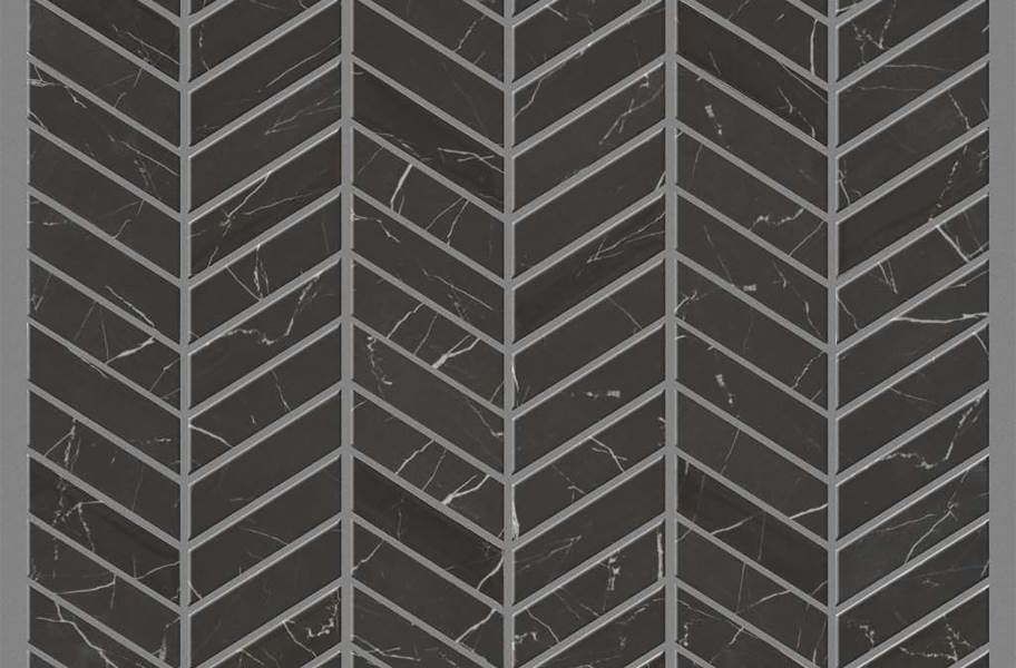 Shaw Gala Glass Mosaic - Chevron Black Tie