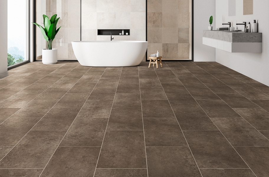 "Pietra 12"" Rigid Core Vinyl Planks - Travertino"