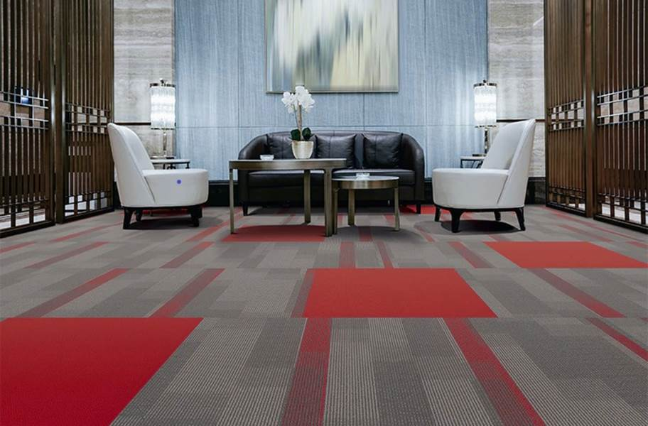 Pentz Amplify Carpet Tiles - Crimson with Colorburst Tile