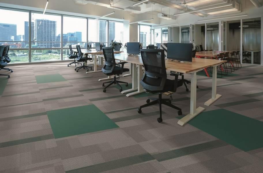 Pentz Colorburst Carpet Tiles - Ocean Tropic with Amplify Tile