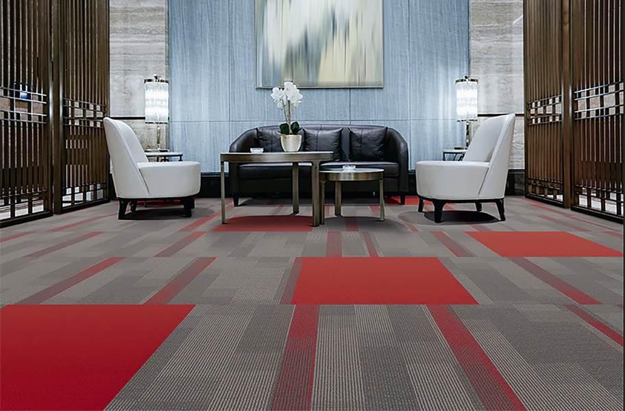 Pentz Colorburst Carpet Tiles - Crimson with Amplify Tile
