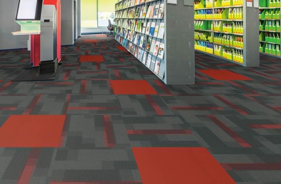 Pentz Colorburst Carpet Tile - Chili Red with Amplify Tile