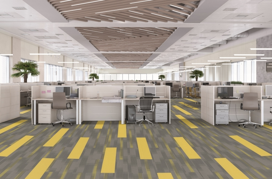 Pentz Colorburst Carpet Planks - Cyber with Amplify Plank
