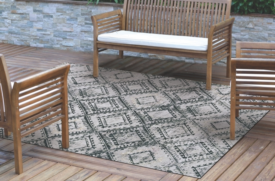 Ikat Indoor Outdoor Area Rug - Black and White