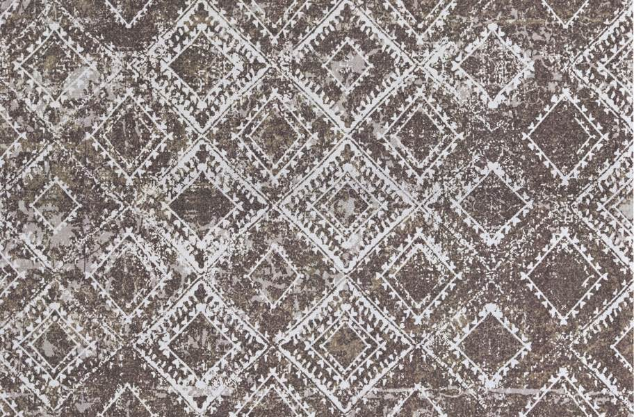 Ikat Indoor Outdoor Area Rug - Taupe and White