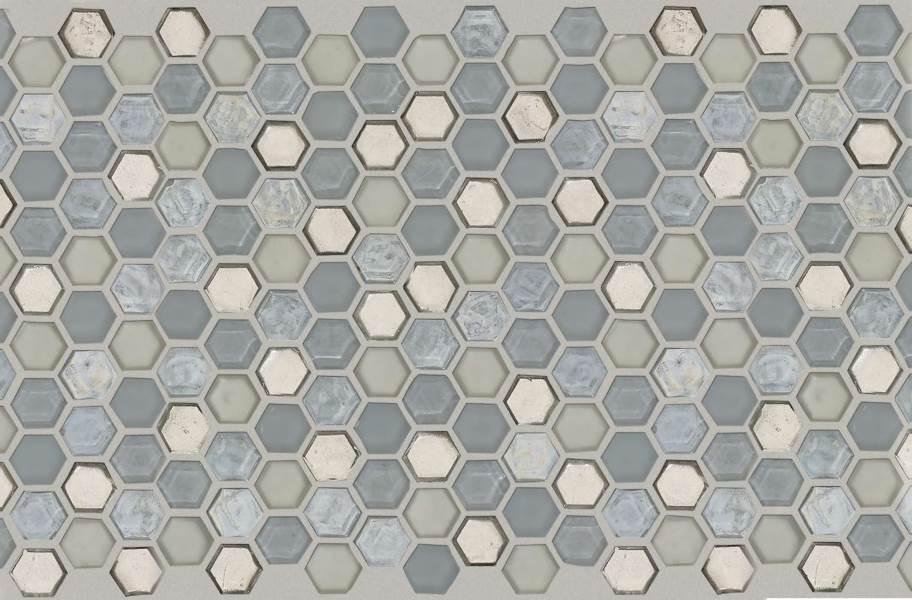 Shaw Molten Glass Mosaic - Hex Pewter