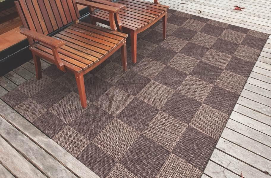 Checkered Indoor Outdoor Area Rug - Brown