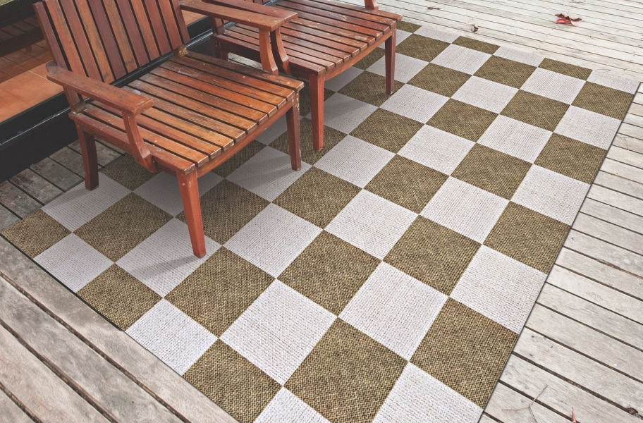 Checkered Indoor Outdoor Area Rug - Taupe and White