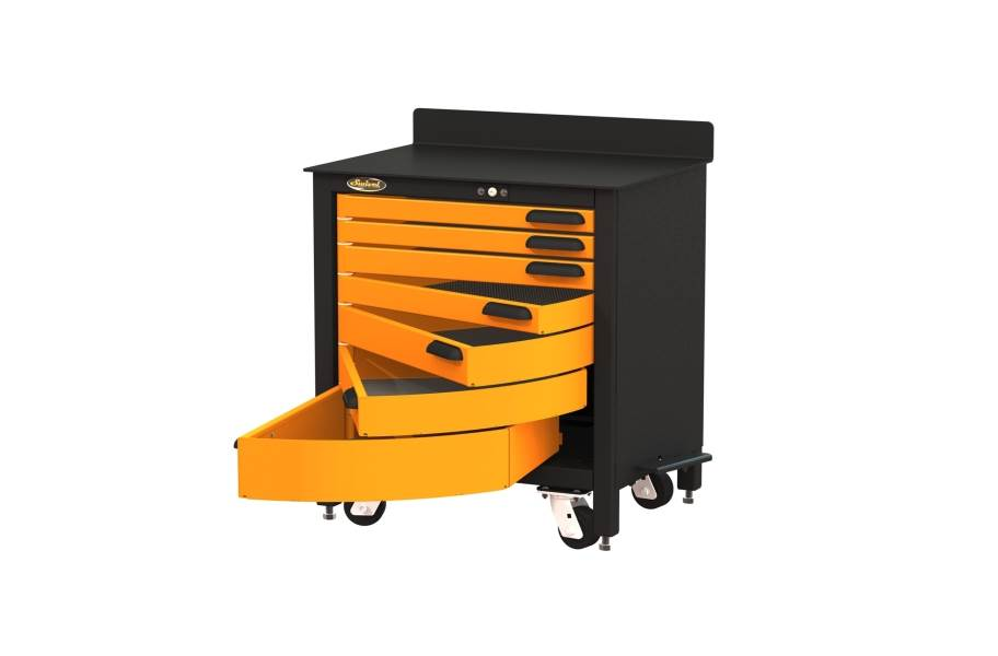 Swivel Storage 7-Drawer Rolling Workbench