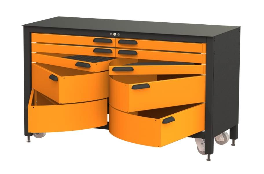 Swivel Storage 10-Drawer Rolling Workbench