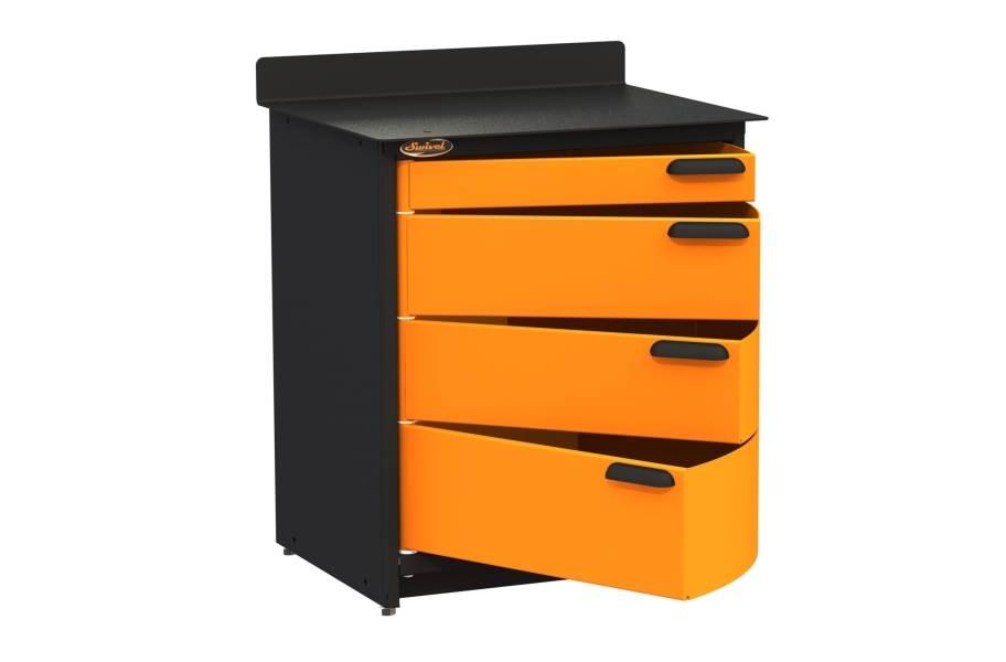 Swivel Storage 4-Drawer Stationary Cabinet