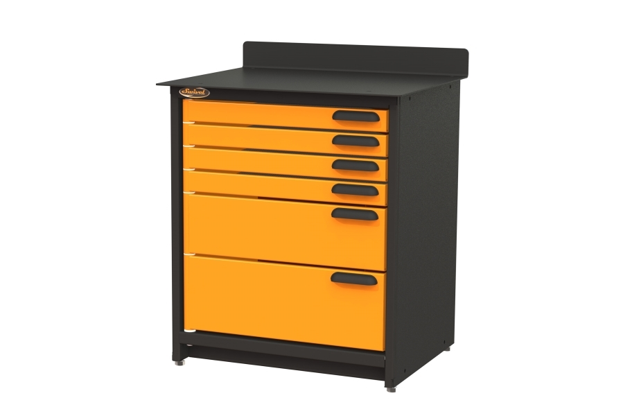 Swivel Storage 6-Drawer Stationary Cabinet